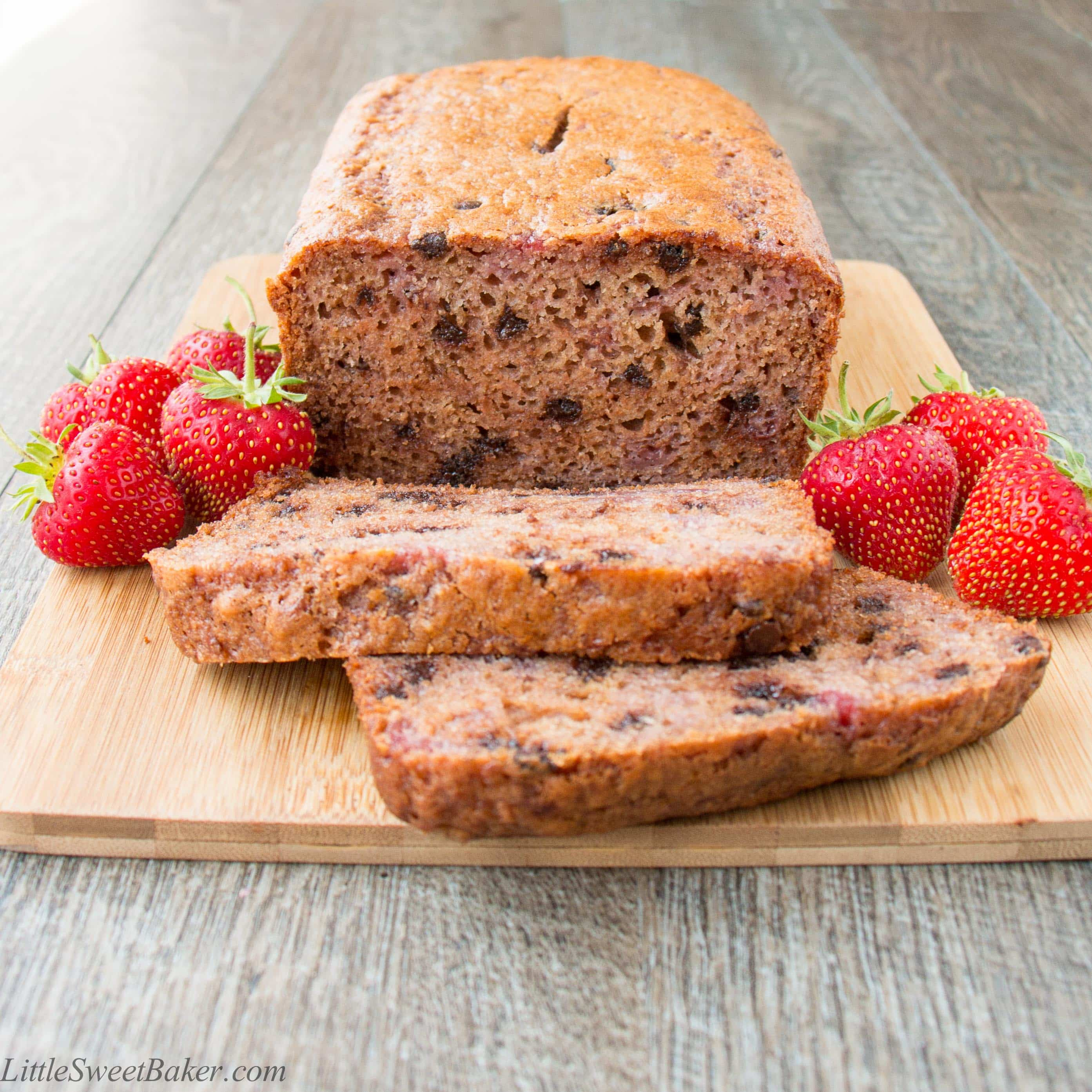 Strawberry Chocolate Chip Bread - Little Sweet Baker
