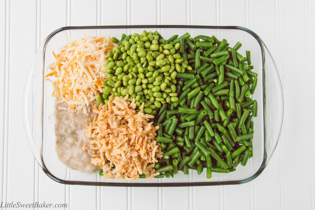 GREEN BEAN EDAMAME CASSEROLE. A new twist to old-time favorite! Green beans and edamame baked in a creamy mushroom sauce and topped with crunchy fried onions. I make this for every Thanksgiving and Christmas dinner.