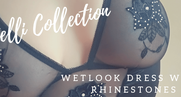 Cottelli Collection Wetlook Dress with Rhinestones