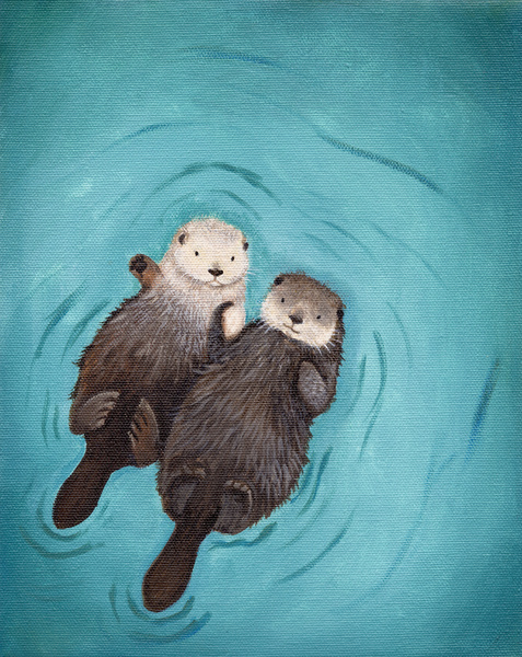 Otterly Romantic - Otters Holding Hands by When Guinea Pigs Fly