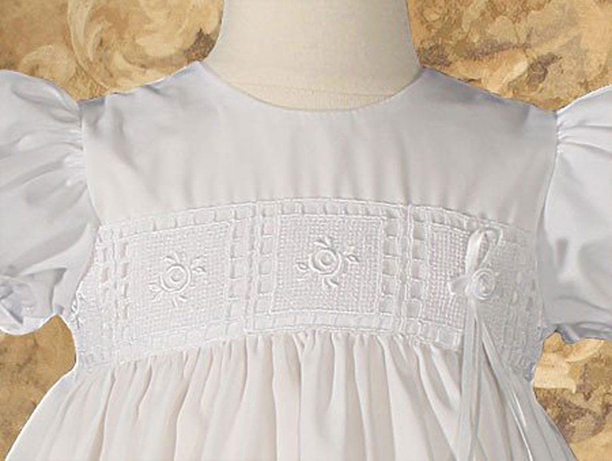 "Girls 24"" Poly Cotton Christening Baptism Gown With Rose"