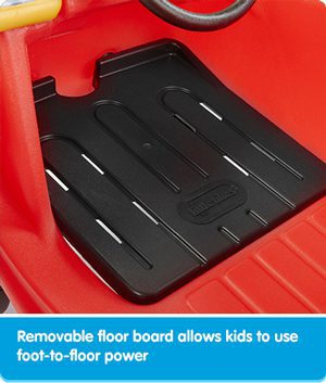 Removable floor board allows kids to use foot-to-floor power