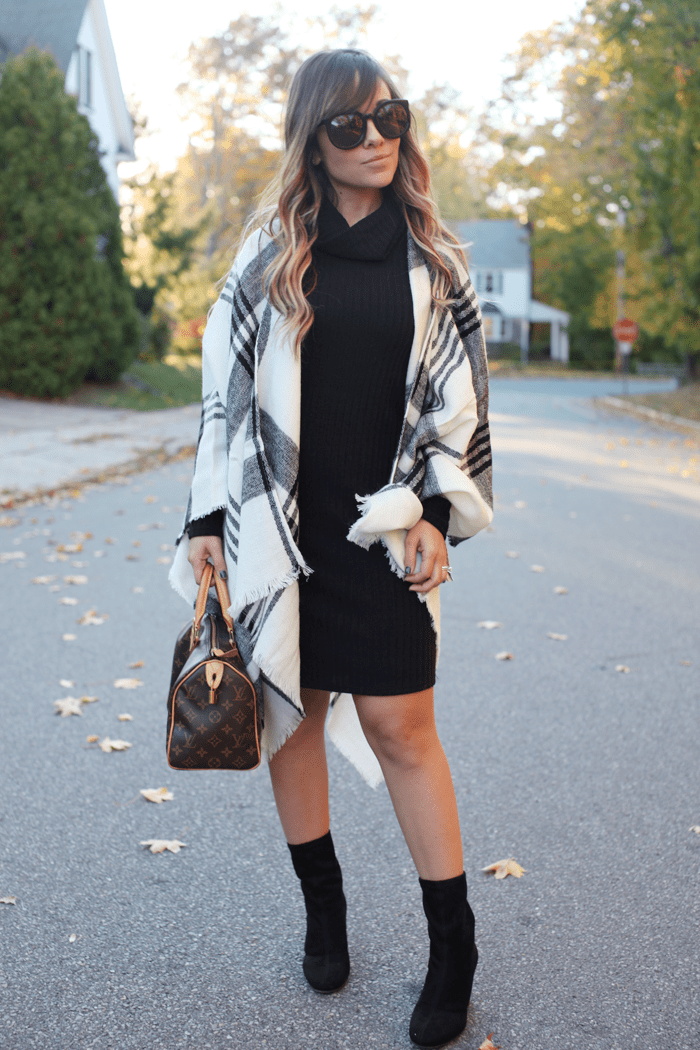 See how to style a blanket scarf and a knit dress with fashion blogger, Little Tree Vintage.
