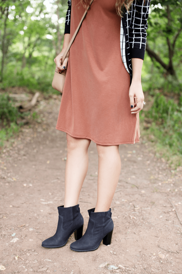 See how to style this burnt orange dress from day to night with a cardigan and booties from fashion and lifestyle blogger, Little Tree Vintage.