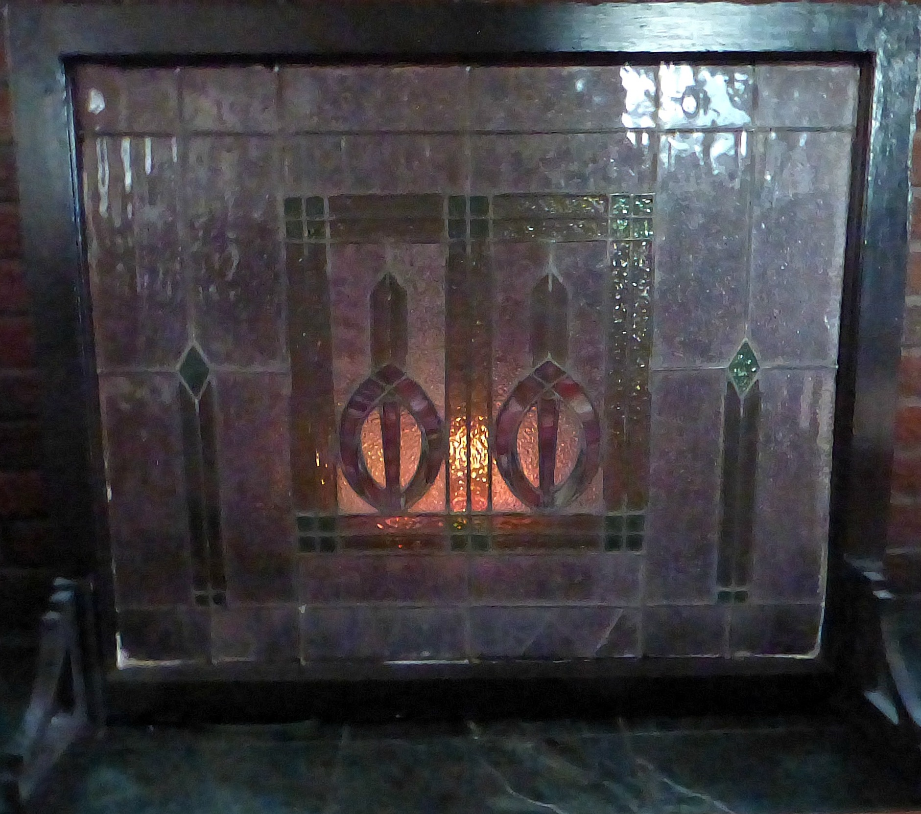 Stained Glass Fireplace Screen In Front Of Fire