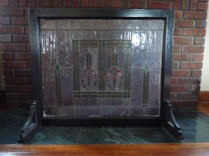 stained glass fireplace screen without lights