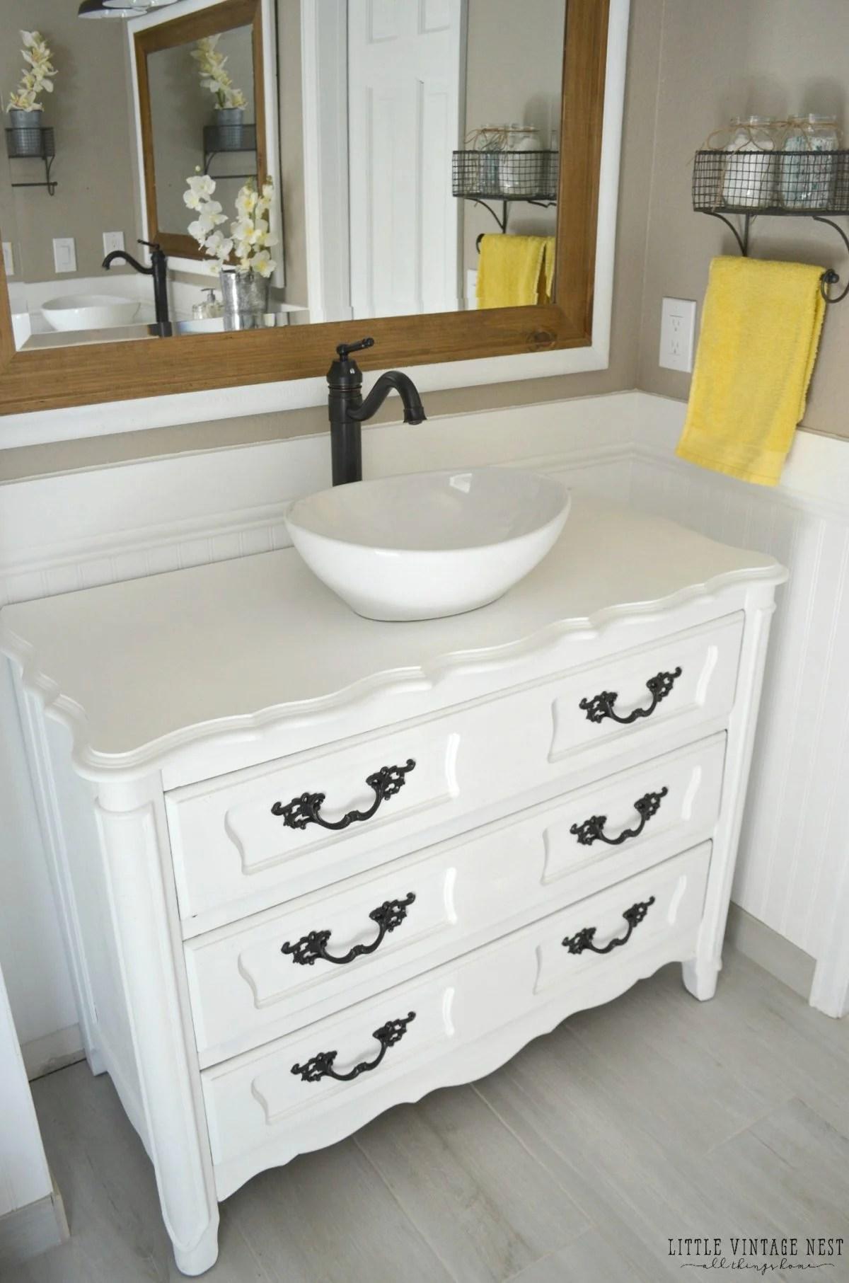 Old Dresser Turned Bathroom Vanity Tutorial
