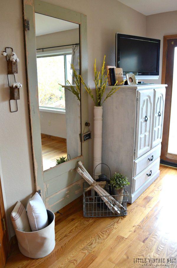 Old Door Turned Full Length Mirror - Little Vintage Nest