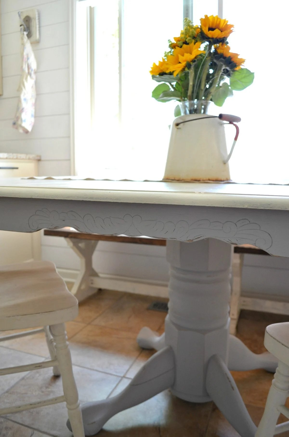 white painted table and chairs walmart wicker chair cushions chalk paint dining makeover little vintage nest