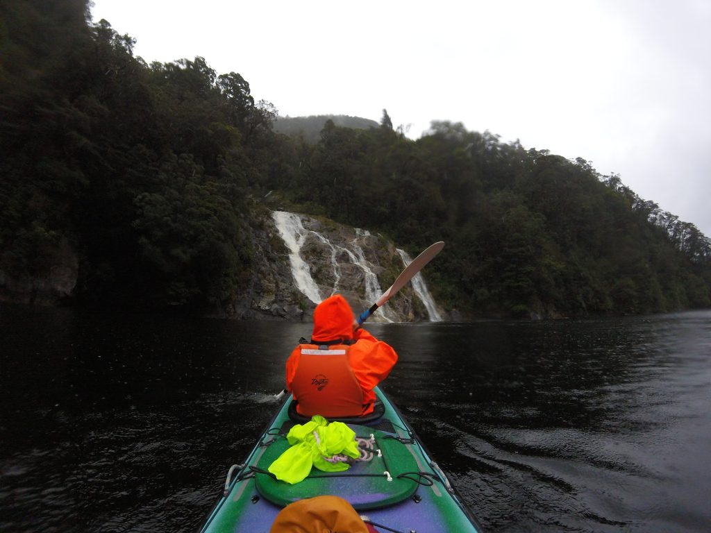 Kayaking Doubtful Sound and it's waterfalls