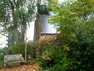 Empty churchyard