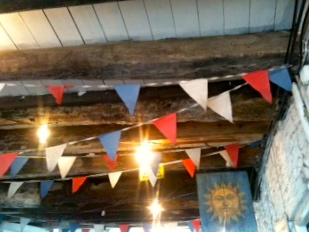 Olde beams & bunting.