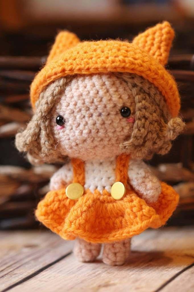 amigurumi fox girl in a free pattern