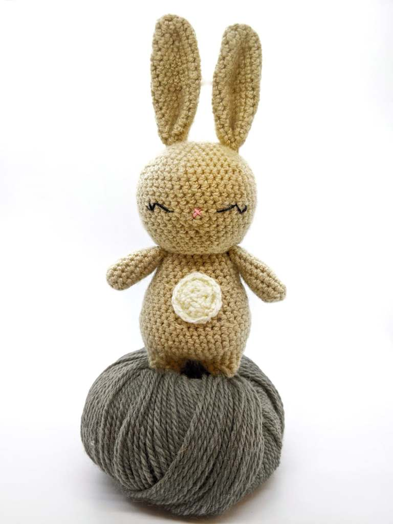 finished easy crochet bunny made with free pattern!