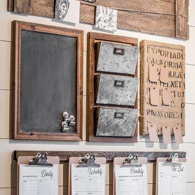 A farmhouse style home command center perfect for a small space.