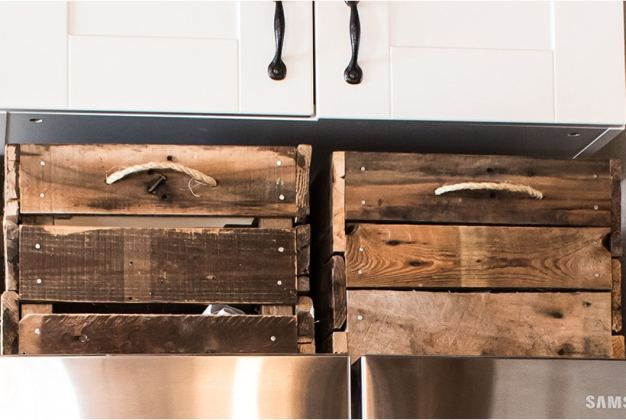 Barn wood wooden crates for above fridge storage.
