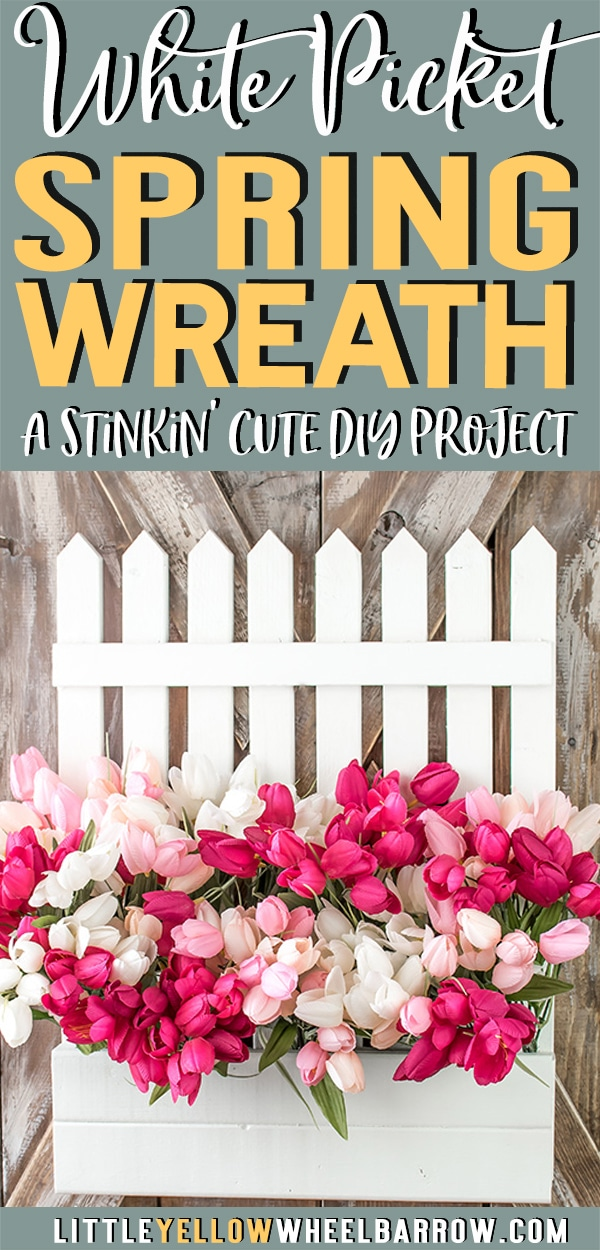 A sweet spring wreath to liven up a front door.  A white picket fence overflowing with spring tulips makes a perfect cottage style accent.   A quick DIY spring project.