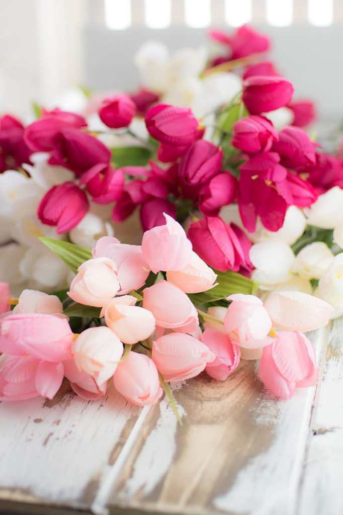 Pink and White Artificial Tulips