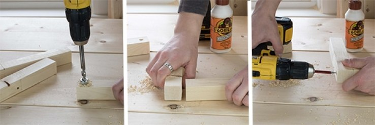 3 pane picture tutorial on how-to build rustic storage bins