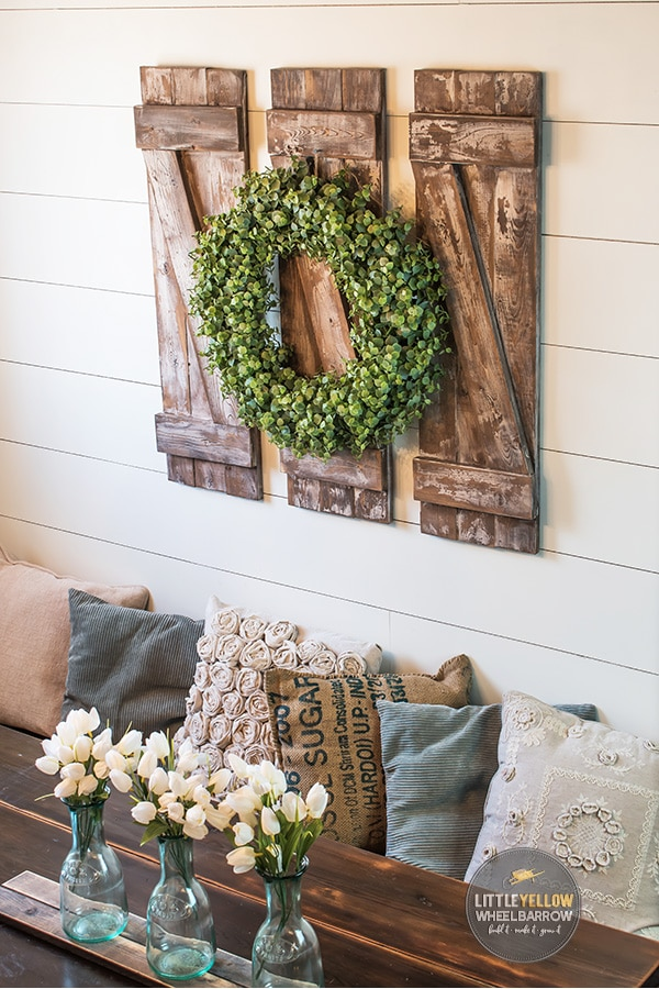 Rustic Shutters on a shiplap wall