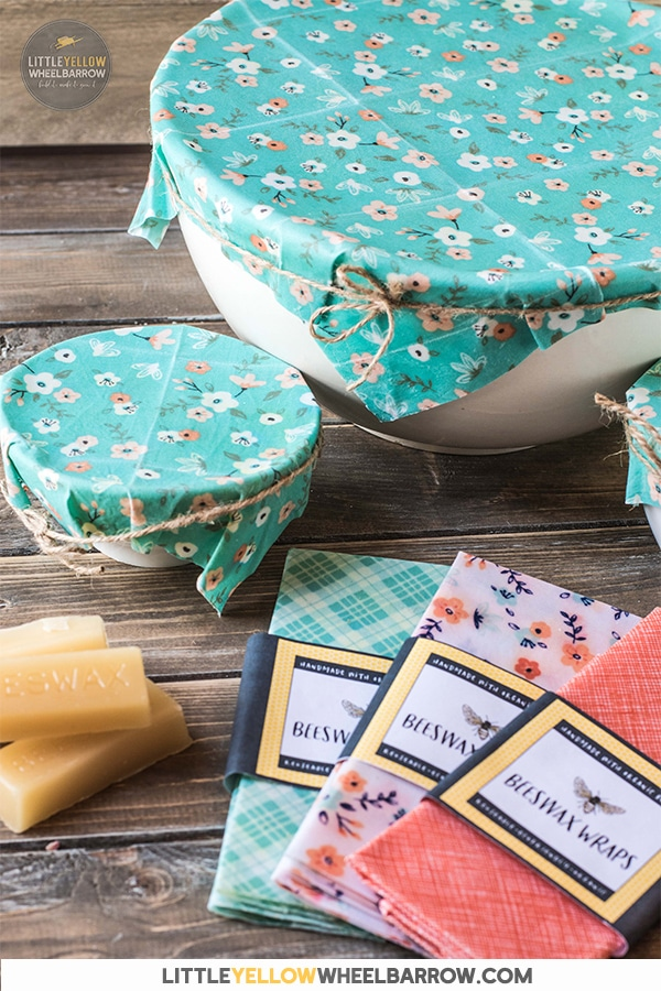 These beeswax wraps take no time at all to create and make a great alternative to plastic wrap.  No fancy or hard to find ingredients, just these two simple items and you're ready to make your own.   These make great gifts and we've included a free beeswax wrap package label for download!
