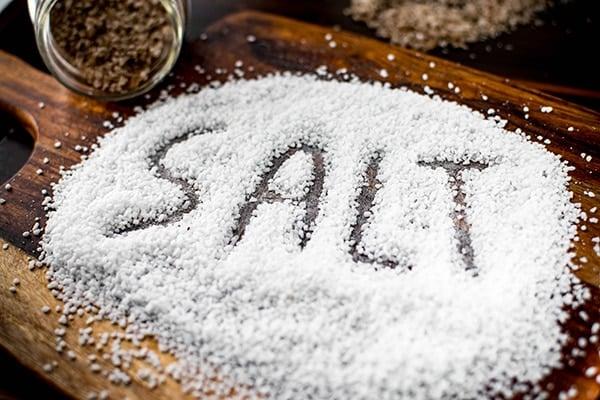 pile of salt with the word salt