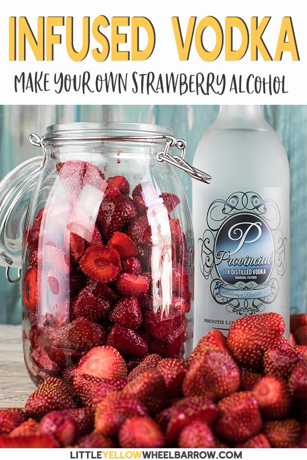 This strawberry infused vodka is easy to make and is great to have on hand to make strawberry flavored cocktails. Don't buy expensive artificially flavored vodkas when you can make a better tasting product at home. This alcohol infusion is sugar-free and is perfect for low carb or keto cocktail recipes.  Make an extra batch to hide away for the holidays! #beverages #alcohol #strawberrycockatails #vodka #infusedvodka #fruitydrinks #summertimedrinks #drinkrecipes