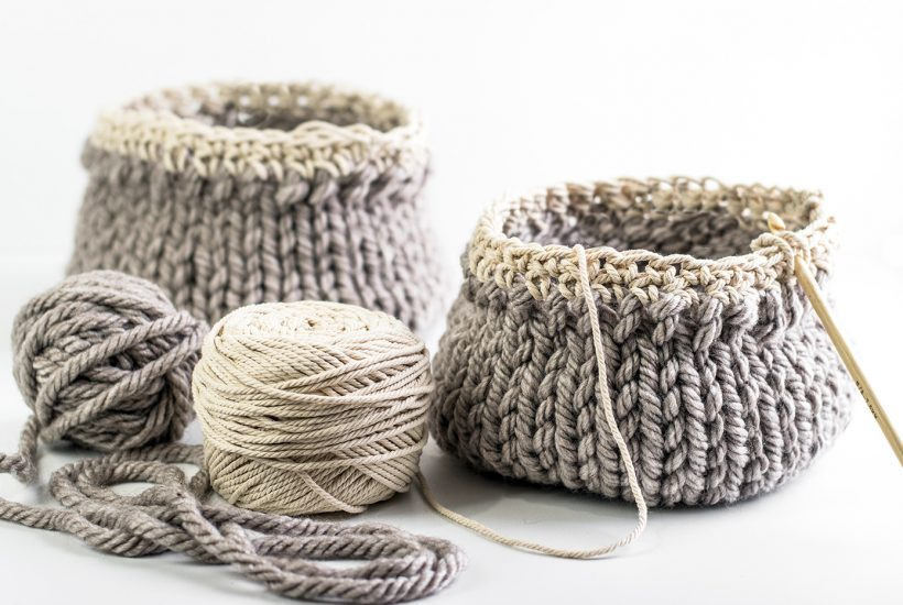 Easy Knit Basket Pattern Perfect For A Beginner Knitting