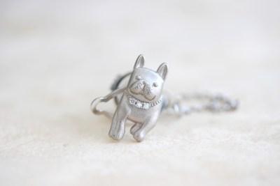 愛犬フレンチブルドックのオーダーメイドタイピン 素材:ホワイトゴールド