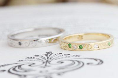 イニシャル柄&かえるのシルエットのレーザー加工結婚指輪(吉川様オーダーメイド)