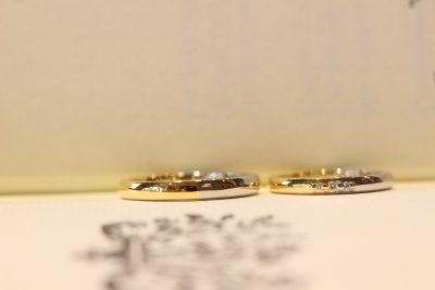ゴールド×プラチナのコンビぷっくりマリッジリング完成2