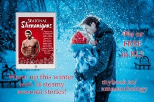 Couple kissing in the snow, with Seasonal Shenanigans cover on top. Christmas is Coming story inside!