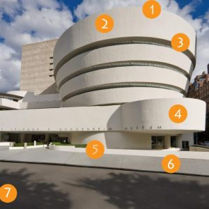 Image of the exterior of the Guggenheim Museum in New York City.