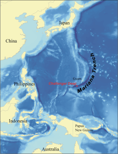 Map showing the location of the Mariana Trench. Wikimedia Commons