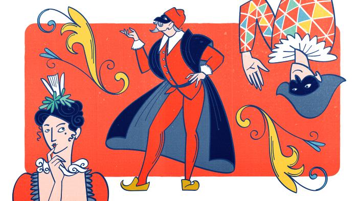 Colombine, Arlequin et Pantaloni prennent des poses théâtrales
