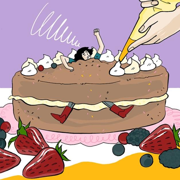 """Illustration de la gourmande expression italienne """"Non cercare di intortarmi"""""""
