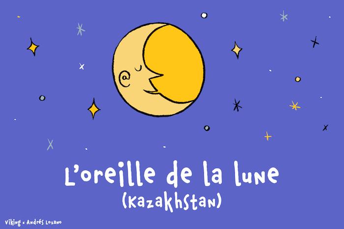 Dans un ciel étoilé, l'oreille de la lune endormie forme une arobase