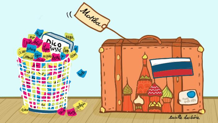 Image d'une poubelle remplie de Post-it et d'un dictionnaire, placée à côté d'une valise avec le drapeau russe et la cathédrale de Moscou