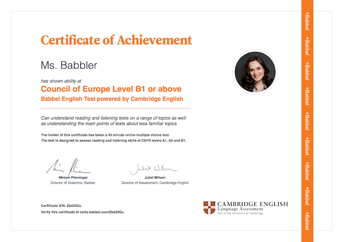 Certificate of Achievement, Council of Europe Level B1 or above