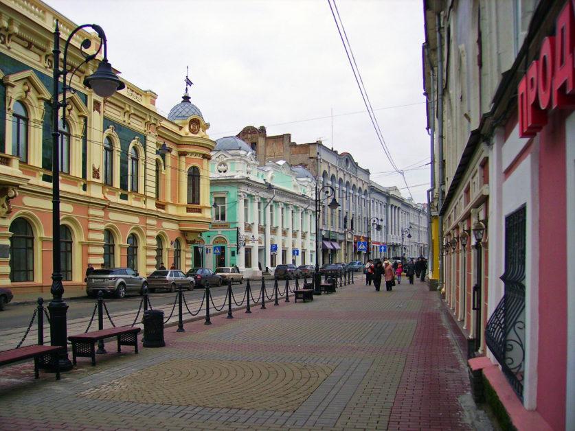 Les rues piétonnes du centre-ville de Nijni