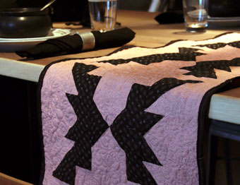 bat table runner on holloween table