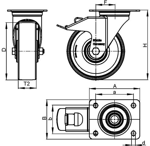 LK-POTH Steel Medium Duty Swivel Caster with Polyurethane