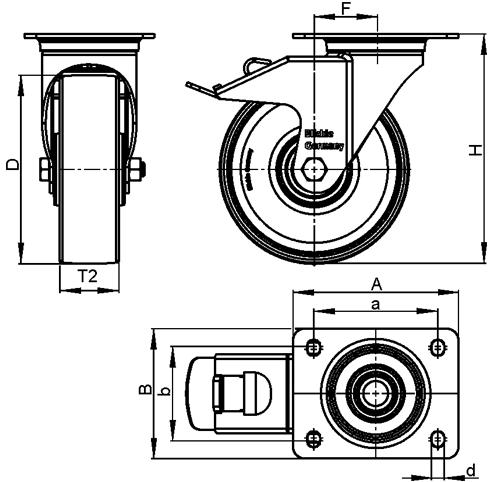 LPA-VPA Steel Light Duty Gray Rubber Wheel Swivel Casters