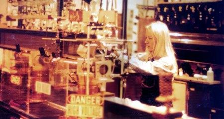 Geraldine Richmond in her lab at UC Berkeley, 1970s, working on a laser