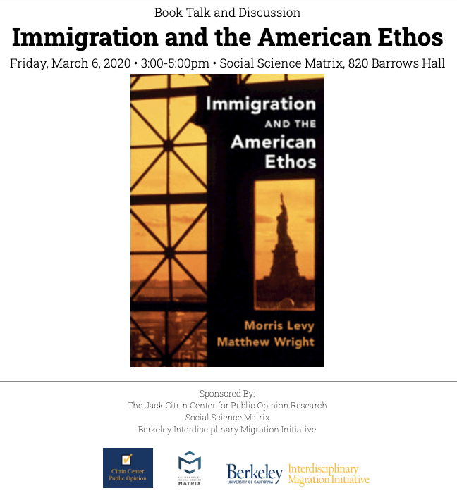 Cover of Book: Immigration and the American Ethos by Morris Levy and Matthew Wright