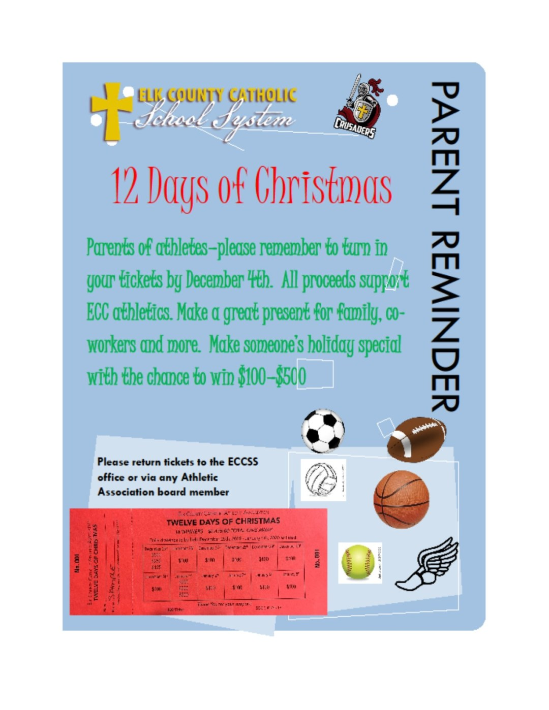 12 Days of Christmas tickets due Wednesday, December 4th