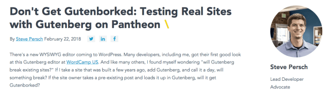 Screenshot of Article at Pantheon website