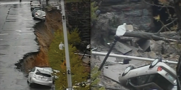 WATCH: Baltimore Street Collapses