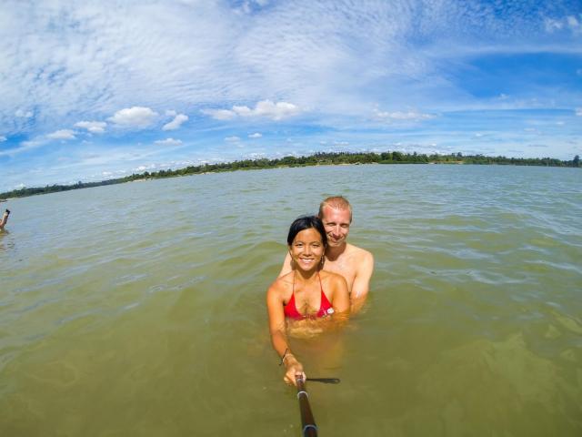 baignade dans le mekong