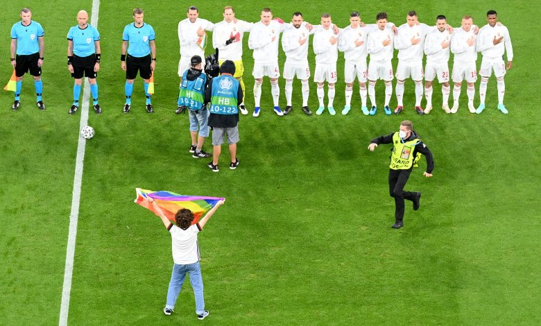 Euro 2020 Hungarian national anthem interrupted by protester with rainbow flag